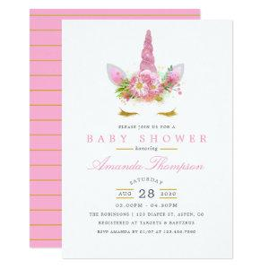 Pink and Gold Floral Unicorn Girl Baby Shower Invitation