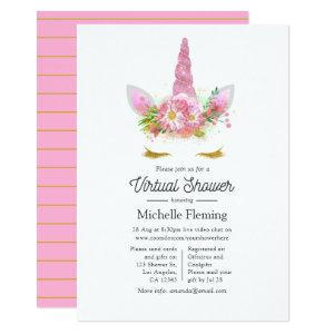 Pink and Gold Floral Unicorn Virtual Baby Shower Invitation