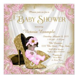 Pink and Gold Glitter Shoe Pearl Baby Shower Invitation