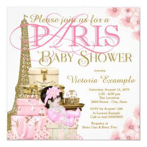 Pink and Gold Paris Baby Shower Invitation