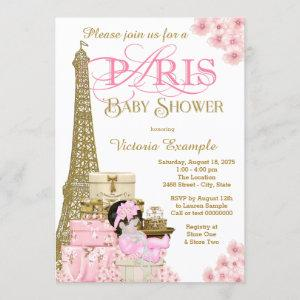 Pink and Gold Paris Baby Shower Invitations