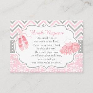 Pink and Gray Chevron Ballerina Baby Book Request Enclosure Card