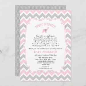 Pink and Gray elephant baby sprinkle Invitation