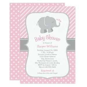 Pink and Gray Elephant | Modern Baby Girl Shower Invitation
