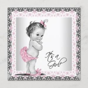 Pink and Gray Vintage Baby Shower Invitation