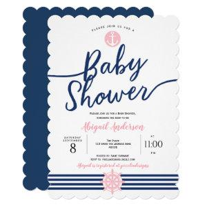 Pink and Navy Blue, Summer, Nautical, Baby Girl Invitation