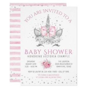 Pink and Silver Diamond Unicorn Baby Shower Invitation