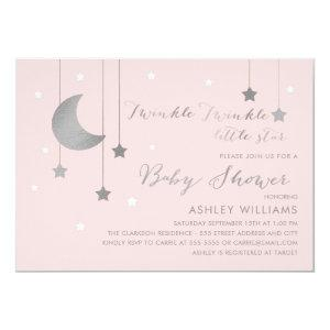 Pink and Silver Moon and Stars Baby Shower Invitation