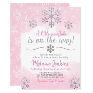 Pink and Silver Snowflake Baby Shower Invitation