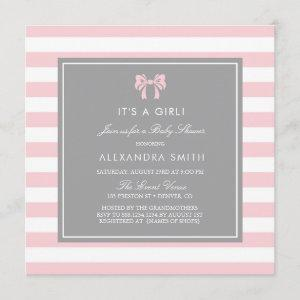 Pink and White Stripes with Bow Baby Shower Invitation