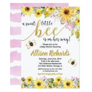 Pink and yellow bumble bee girl baby shower invitation