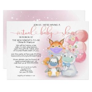 Pink Arctic Animals in Masks Virtual Baby Shower Invitation