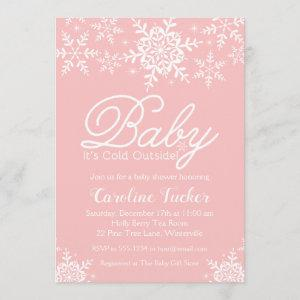 Pink Baby It's Cold Outside Baby Shower Snowflakes