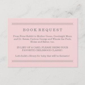 Pink Baby Shower Book Request Enclosure Card