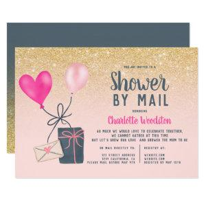 Pink balloons gold glitter baby shower by mail invitation