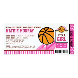 Pink Basketball Ticket Pass Baby Shower Invitation