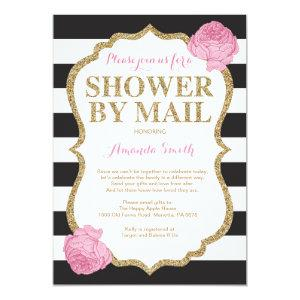 Pink Black and Gold Glitter Baby Shower by Mail Invitation