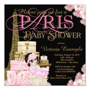 Pink Black and Gold Paris Baby Shower Invitation