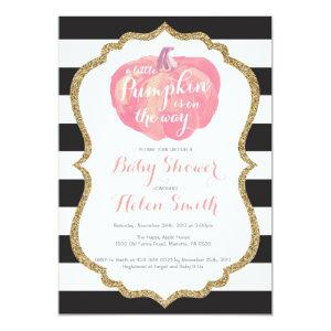 Pink Black and Gold Pumpkin Girl Baby Shower Invitation