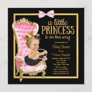 Pink Black Gold Chair Princess Baby Shower