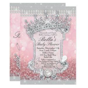 Pink Bling Glitter Baby Shower Invitations