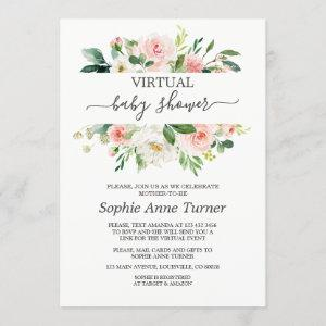 Pink Blush Flowers Virtual Baby Shower By Mail Invitation