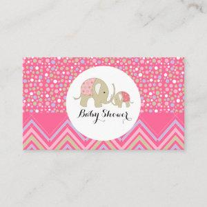 Pink Bohemian Elephant & Chevron Baby Shower Enclosure Card