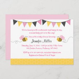 Pink Bumble Bee Baby Shower Invitation