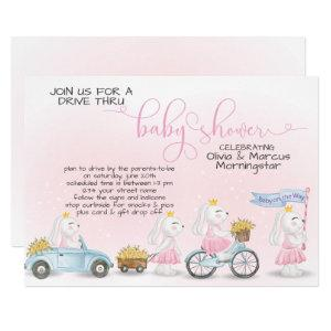 Pink Bunny Parade Drive Thru Baby SHower Invitation