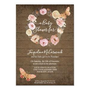 Pink Butterfly Floral Watercolor Wreath Baby Girl Invitation