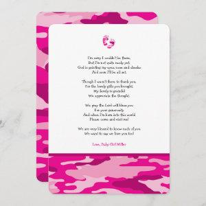 Pink Camo girl poem baby shower thank you note Invitation
