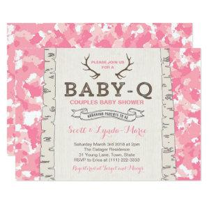 Pink Camouflage Co-ed Baby Shower for Girl Invitation