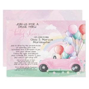 Pink Car Balloons Drive Thru Baby SHower Invitation