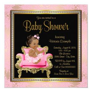 Pink Chair Lace Pearls Ethnic Girl Baby Shower Invitation