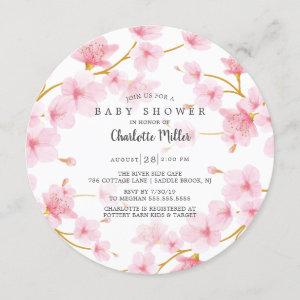 Pink Cherry Blossoms  Baby Shower Invitation