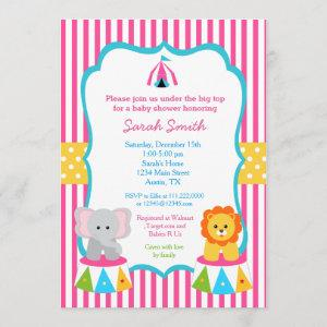 Pink Circus Carnival Baby Shower Invitations Girls