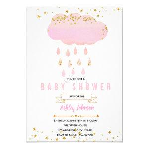Pink cloud baby shower invitation
