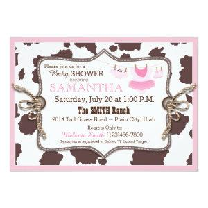 Pink Cowgirl Baby Shower Tutu Invitation