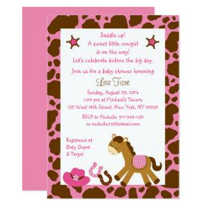 Pink Cowgirl Pony Baby Shower Invitation