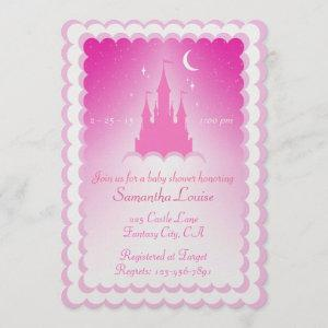 Pink Dreamy Castle In The Clouds Baby Shower Invitation