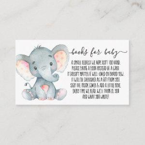Pink Elephant Girl Book Request for Baby Shower Enclosure Card