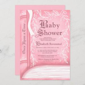 Pink fairy tale storytelling book girl baby shower invitation