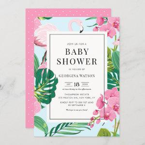 Pink Flamingo and Orchids Tropical Baby Shower Invitation