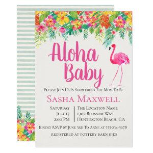 Pink Flamingo Luau Baby Shower Invitation