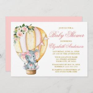 Pink Floral Balloon Elephant Bow Baby Shower Invitation