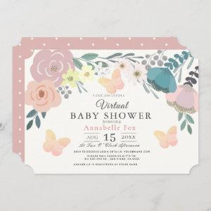Pink Floral & Butterflies Girl Virtual Baby Shower Invitation