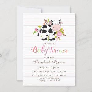 Pink Floral Cow Girl Baby Shower Invitation