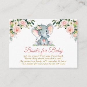 Pink Floral Elephant Books For Baby Shower Gold Enclosure Card