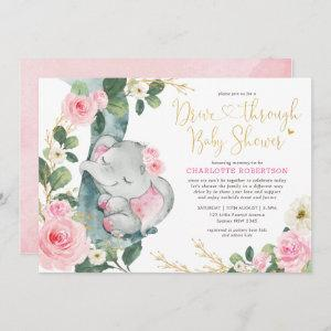 Pink Floral Elephant Drive By Girl Baby Shower
