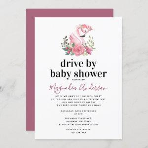 Pink Floral Flamingo Drive By Baby Shower Invitation